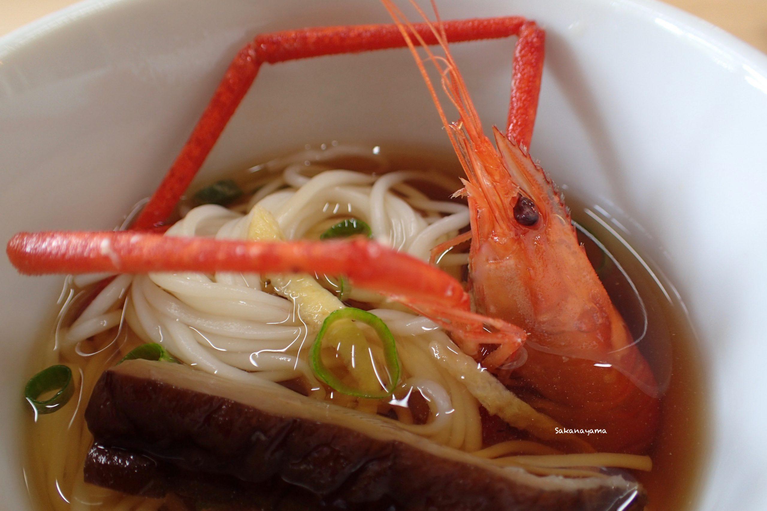 原木椎茸とミナミテナガエビを使った素麺