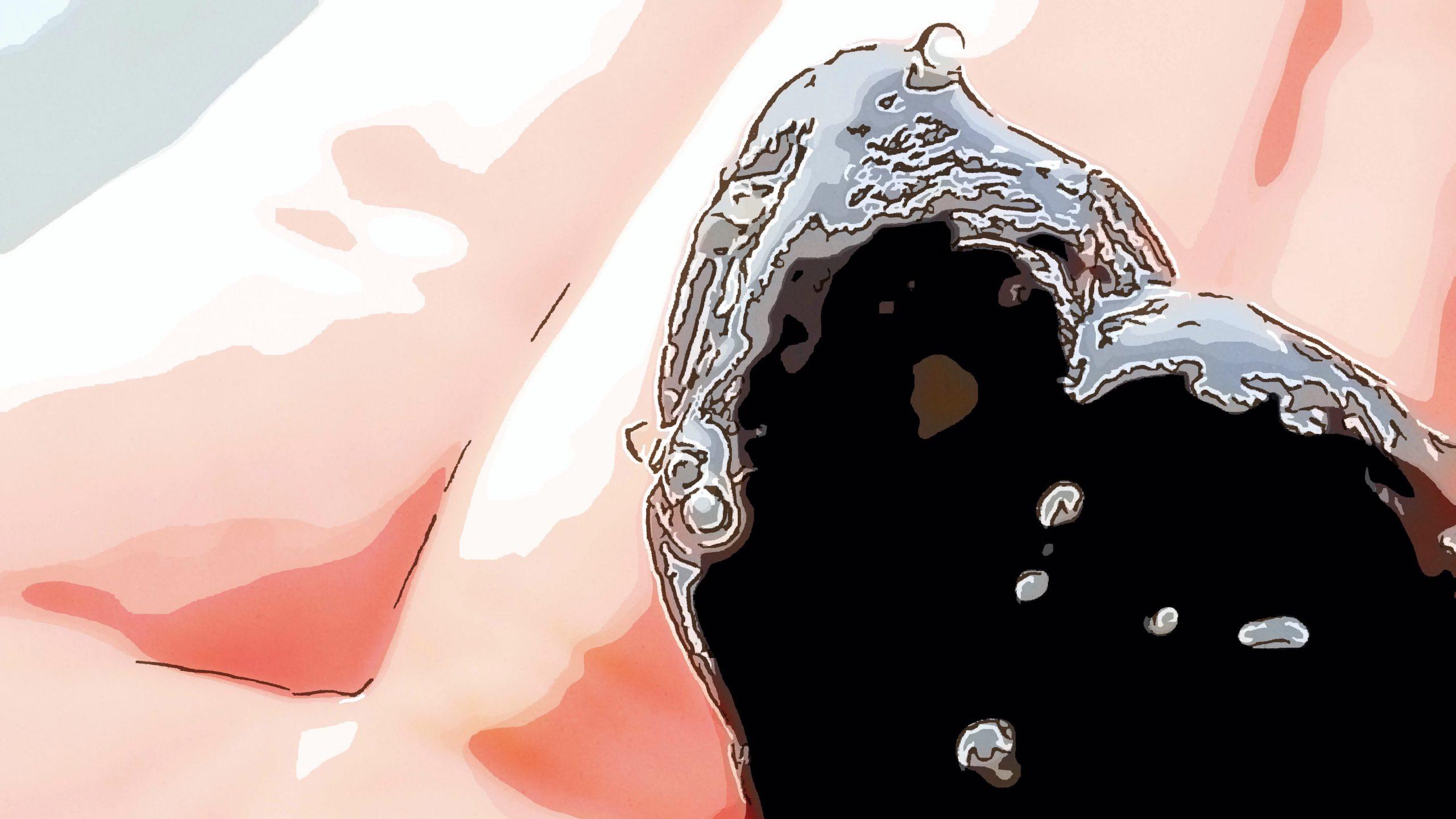 小礫に付着したアユ卵(直径1mm)