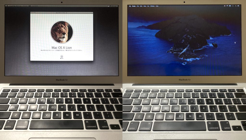 macOS CatalinaをインストールしたMacBook Air Late2010